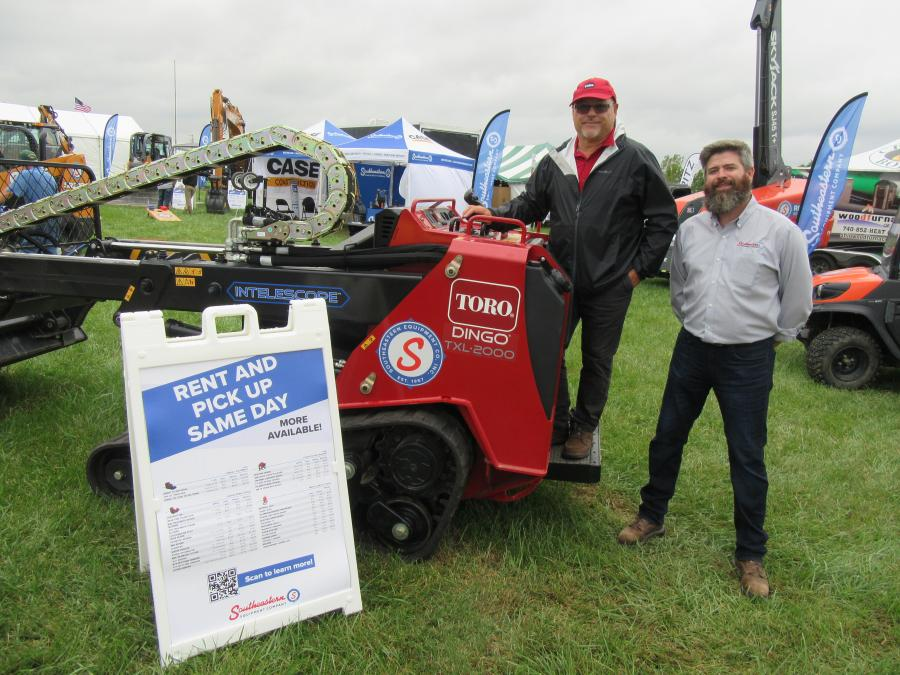 Denny Glasco (L), Toro district sales manager, and Southeastern Equipment Company's Wes Cooper discussed the dealership's line of Case, Toro and other equipment available for sale or rent.