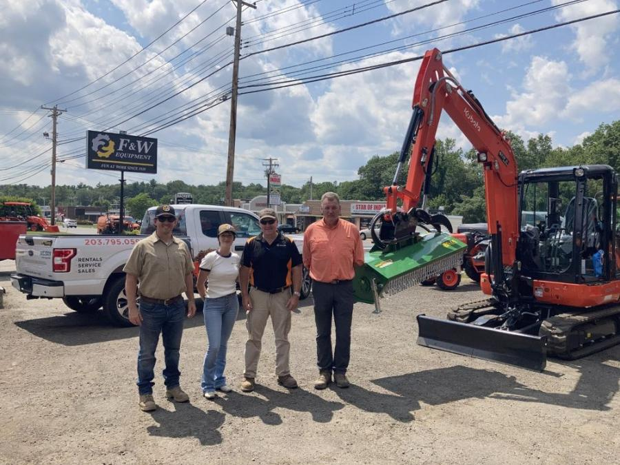 F&W Equipment Corporation is now a stocking dealer for the complete line of attachments offered by Ransome Attachments. (L-R) are Eric Ransome and Barbara Freund of Ransome; and Matt Valentine and Mark Laigle of F&W.