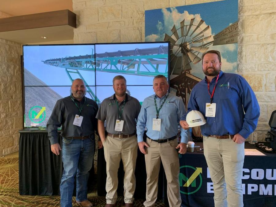 The McCourt Equipment contingent at TXAPA.  (L-R): Ryan Kays; Sam Welch, company president; Paul McCourt and Sean McCourt.  The McCourt family has been involved in the crushing, screening and washing industry for decades, and since 1999 from its location in La Grange.  They represent McCloskey and several other equipment manufacturers.