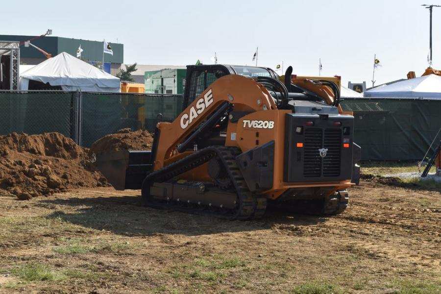 The largest, most powerful, compact tracked loader on the market today — the new Case TV 620B with a huge 1 ¼ -yd. bucket — was a real show stopper.