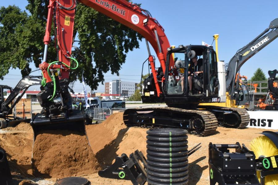 A Link-Belt 145 excavator equipped with an Engcon tiltrotator demonstrated with a host of attachments is quickly changing the way contractors have traditionally viewed attachments and coupling systems.