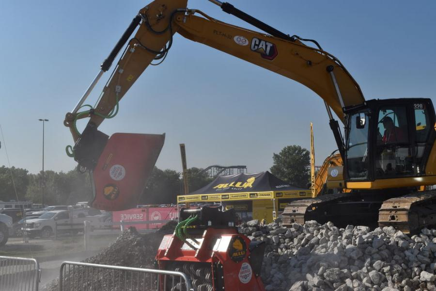 Allu, long known for its excavator screening bucket, held live demonstrations of the new excavator crushing bucket that was originally introduced at ConExpo.