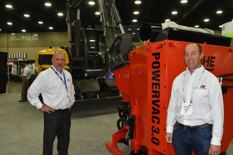 Introduced during Utility Expo was the Powervac, which is the first excavator-mounted vacuum excavator now being imported into the United Stated by AJ (L) and Paul Lorusso of Lorusso Heavy Equipment.