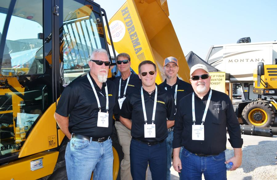 (L-R): John Millsaps, Barry Ferrell, Kris Binder, Jeff Platzke and Allen Patterson of Hydrema US kept quite busy showcasing their latest products.