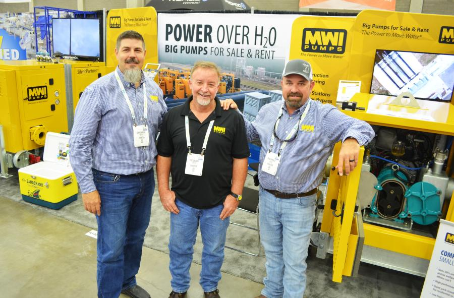 The MWI Pumps (Deerfield Beach, Fla.) booth was represented (L-R) by Sean Correia, Eric Gregory and Chad Epperly.