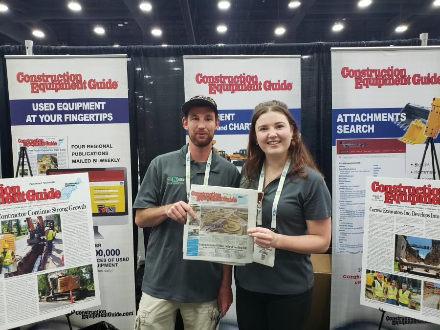 Brian Kelly Jr. and his sister, Maura Kelly, both of Pat Kelly Equipment Co., Hazelwood, Mo., stop by the CEG booth to check out the latest Midwest issue.