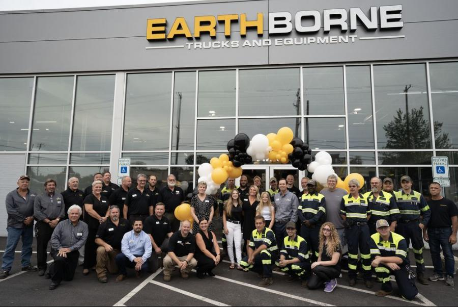 The Earthborne employees gather after the official ribbon-cutting to celebrate the opening of the new 75,000-sq-ft facility.