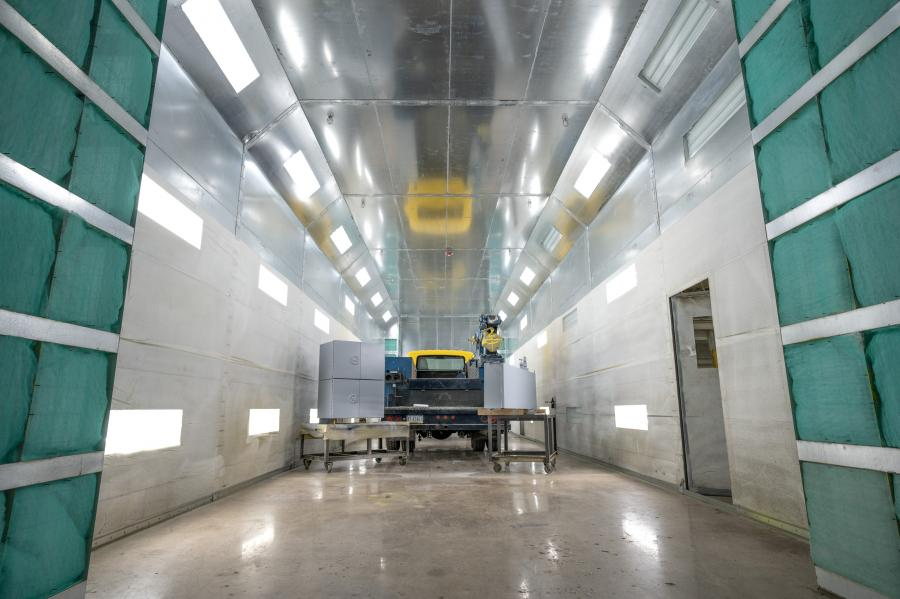 Earthborne's new body fabrication and paint shop offers a SprayLine 15 by 15 by 64-ft. paint booth, large enough to work on any tractor trailer, recreational vehicle or bus brought in.