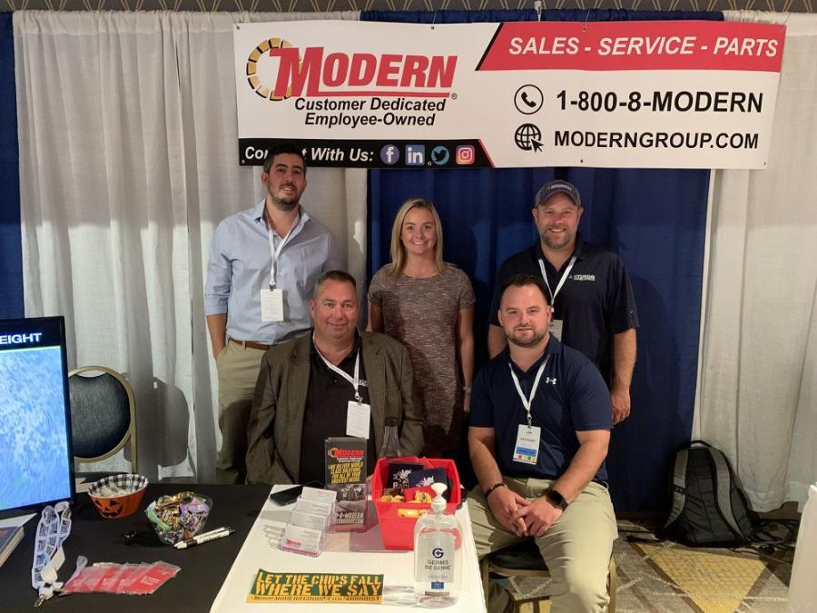 (L-R, top row): Ron Dortone, Brianna Hughes, Ryan Smith. (L-R, bottom row): Sam Maury and Anthony Brown, all representing Modern Machinery, which sells the Hyundai product line, including loaders, excavators and high-speed grinders.
