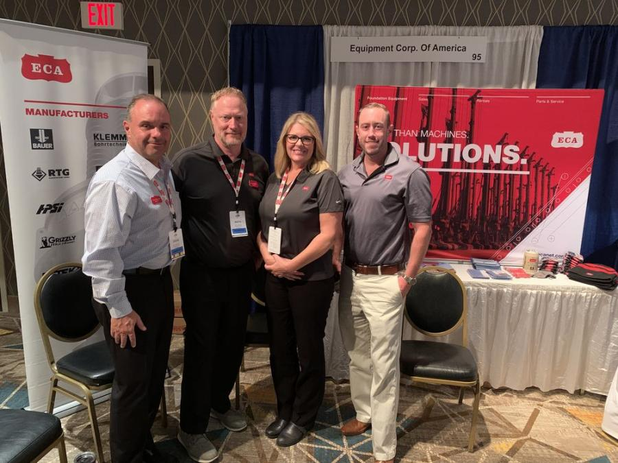 (L-R): Steve Sigmund, Keith Meitzler, Kelly Simon and Rich Anderson, all of Equipment Corp. of America, represented Bauer drill rigs and RTG piling rigs at the UTCA convention.