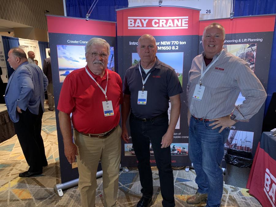 (L-R): Bay Crane's Ed Hogrelius, Dan Fallon and Lou Slota take in the crowd at the UTCA convention.