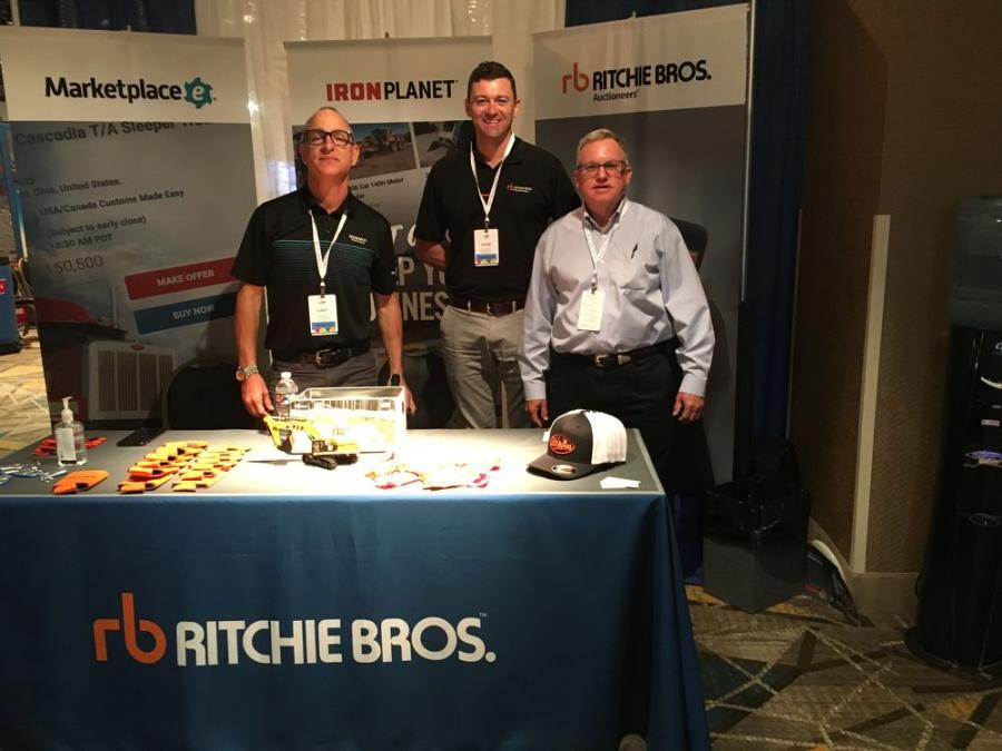 Representing the Ritchie Bros. booth (L-R) are Gary King, Adam Byrne and Fred Vilsmeier.
