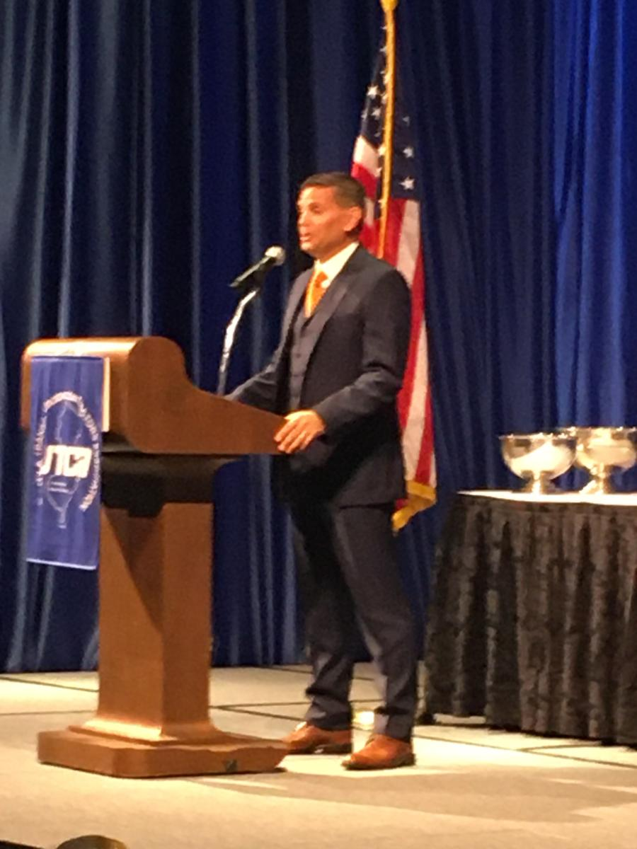 """During the UTCA Keynote Luncheon, new UTCA President Rolando """"Roly"""" Acosta, who is president and CEO of JAG Companies, Wall Township, N.J., spoke."""