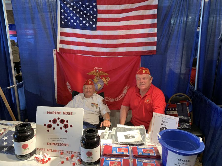 Ed Androvich (L) and Bob Grover, representing Toys for Tots, take in the crowds at the UTCA event held on Oct. 1 at the Tropicana in Atlantic City.