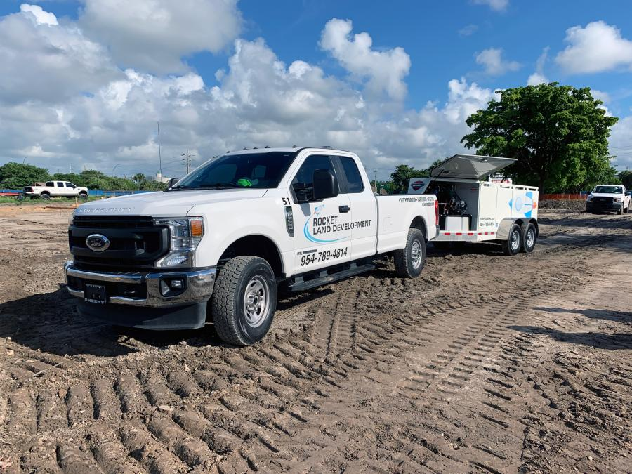 With the trailers, the Rocket Land team stores their fuel at the job site in bulk, using a fueling vendor to deliver diesel. Then, using both the trailers and nurse tanks in the back of their pickup trucks, the team shuttles fuel to a variety of job sites they have running simultaneously.