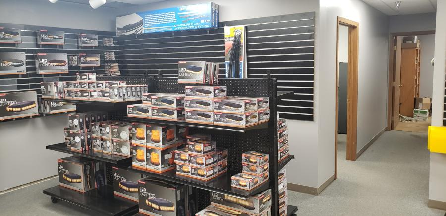 The newly-expanded parts area offers a wide variety of items for customers.
