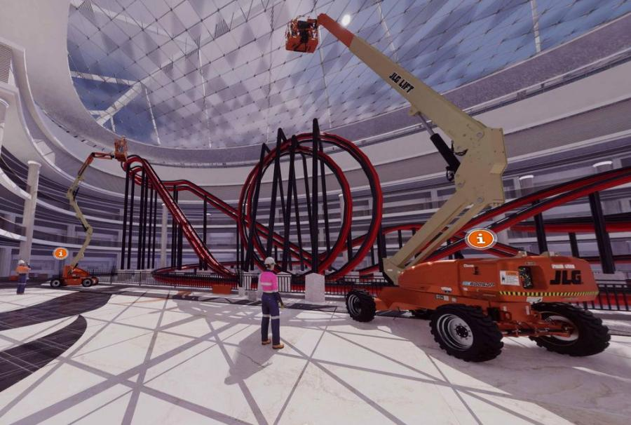 """""""Access Your World"""" offers an engaging, life-like experience that showcases detailed, 3-D equipment models being used in multiple stages of construction, allowing visitors to experience JLG products in a variety of applications."""