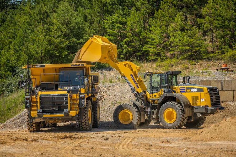 Designed to be a three-pass match for loading aggregate and other processed materials onto highway trucks, the Komatsu WA480-8 yard loader has more than 1,400 lbs. of added counterweight for increased bucket capacity and stability.