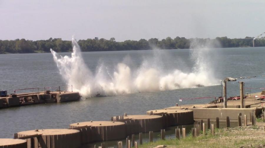 By early September, about 80 percent of lock and dam 52 near Brookport, Ill., had been demolished and all blasting work completed. (USACE photo)