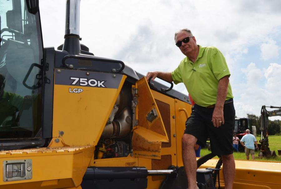 Terry North of RDO Equipment came to the auction to monitor the pricing and check out some of the Deere machines, including this 750K dozer.