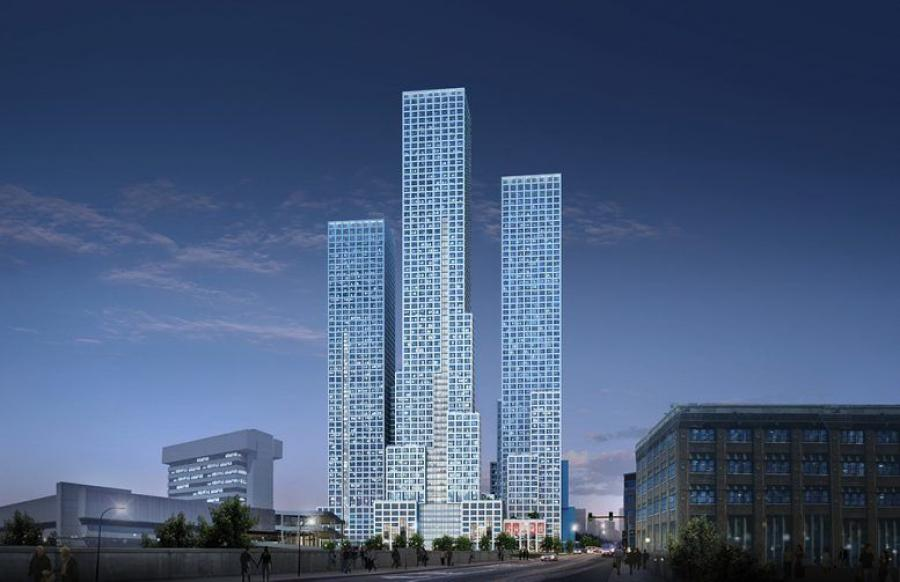 Evening rendering of all three towers at Journal Squared. (Qualls Benson rendering)