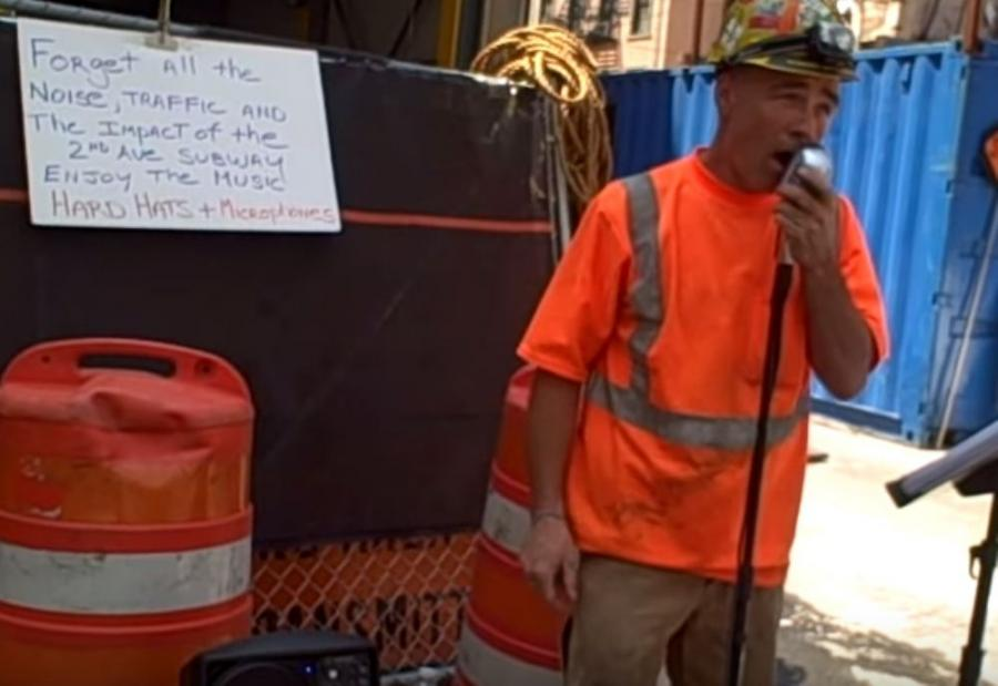 Police and relatives have been searching for Gary Russo, whose construction-site stage lent a new twist to the ``if I can make it there, I'll make it anywhere' message of ``New York, New York,' a song he covered.
