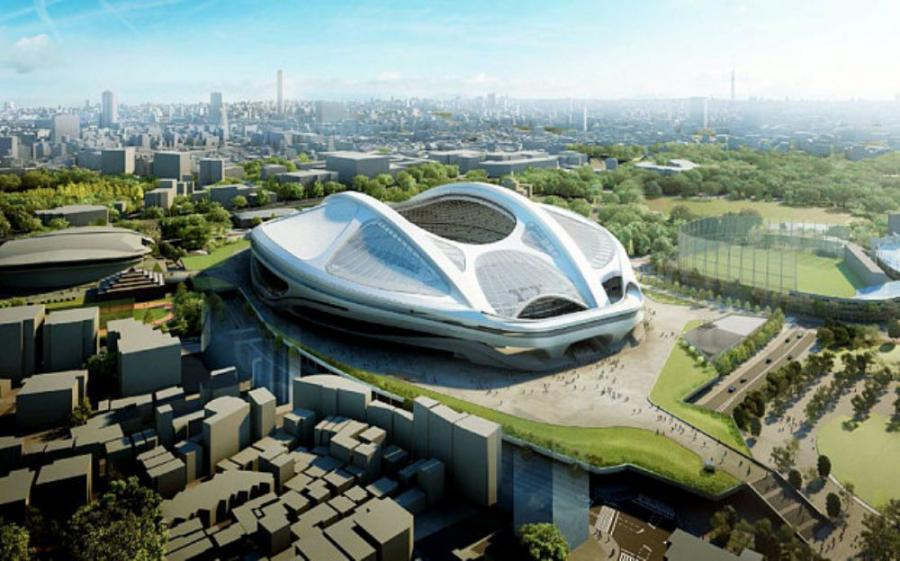 An artist's impression of the new National Stadium for the 2020 Olympic Games in Tokyo, designed by Iraqi-British architect Zaha Hadid.